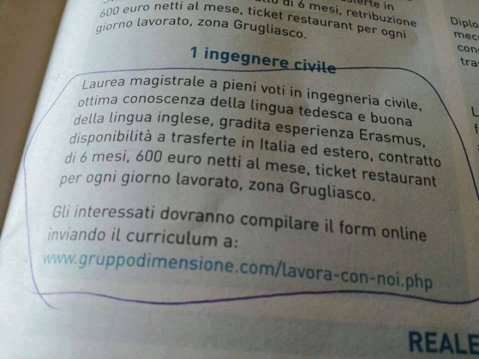 "Laurea in Ingegneria per un ""lauto"" stipendio da 600 euro"